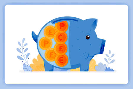 vector illustration of blue fat piggy bank with foreign money. saving and investing. Vector illustration set isolated on white background and can used for landing pages, websites, posters, mobile apps