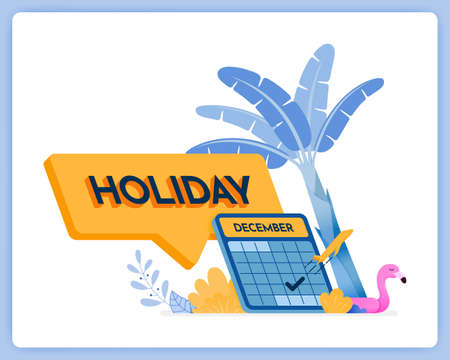 vector illustration of writing 3d holiday in comment box. schedule for year end holidays. Vector illustration set isolated on white background and can be for landing page, website, poster, mobile apps
