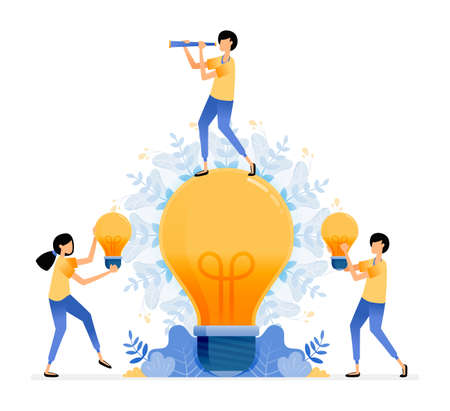 Vector Design of find and explore ideas. man standing on light bulb. people holding light bulb. enlightened thinking. illustration Can be for websites, posters, banners, mobile apps, web, social media