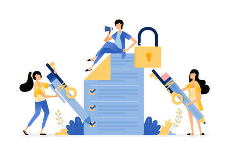 Survey and exam security to protect user from data leakage and misuse. Vector illustration concept can be use for landing page, template, ui ux, web, mobile app, poster, banner, website, flyer, ads Ilustracje wektorowe