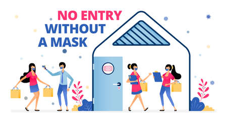 Vector illustration of warning keep wearing masks and complying with health protocols during meetings. Information of NO ENTRY WITHOUT A MASK. Design can be for landing page, website, poster, apps