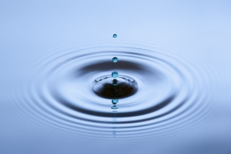 Water drops hitting the surface creating a nice ring reflection
