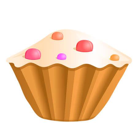 cupcake illustration: cupcake, vector illustration