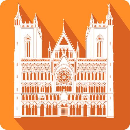 gothic architecture: symbol of Norway, vector illustration Illustration