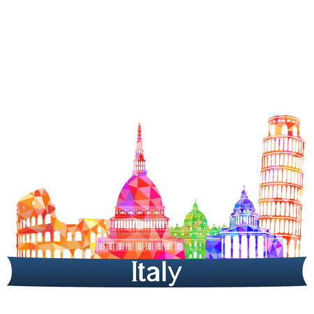 country church: Sights Italy, vector illustration