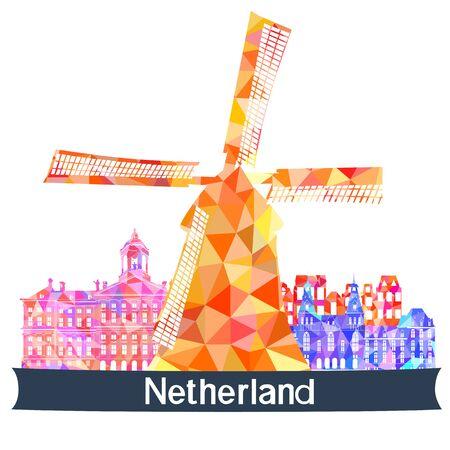 sights: Sights Netherlands, vector illustration