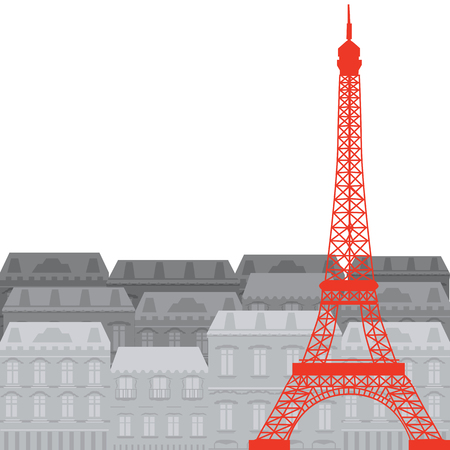 known: Eiffel Tower on the background of the city, vector illustration