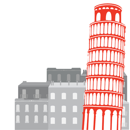 Leaning Tower of Pisa on the background of city, vector illustration