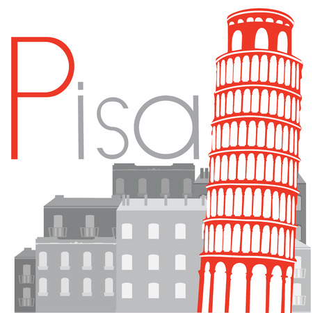 leaning tower: Leaning Tower of Pisa on the background of city, vector illustration