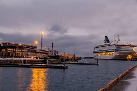view of the harbor of Tallinn at sunrise, Estonia Stock Photo