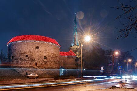 night view of the street, Tallinn Estonia Stock Photo