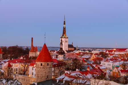 aerial view of the old and modern city, Tallinn Estonia