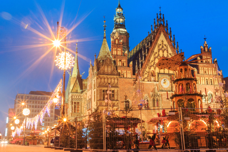 Christmas night market place in Wroclaw, Poland