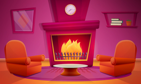 living room with fireplace in cartoon style and furniture, vector illustration Stock Illustratie