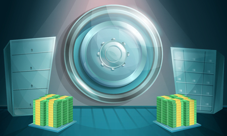 cartoon bank vault with money, vector illustration