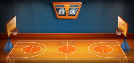 cartoon basketball field with scoreboard, vector illustration Illustration