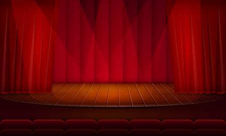 escena teatral vacía de dibujos animados, ilustración vectorial