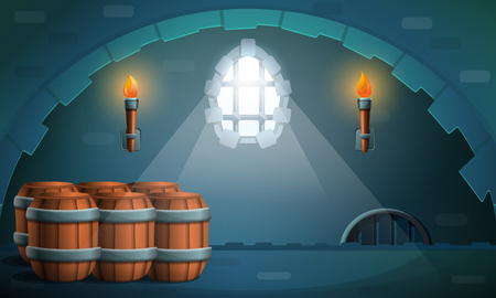 dungeon castle with barrels and torches, vector illustration 矢量图像
