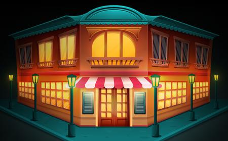 Cartoon building with a restaurant at night, vector illustration