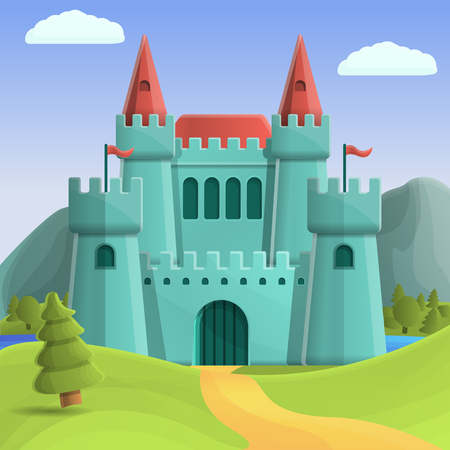 beautiful medieval castle on nature background, vector illustration