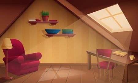 Caricature de chambre mansardée en bois confortable, illustration vectorielle