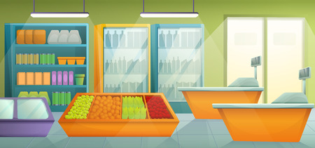 Cartoon supermarket with furniture and products, vector illustration Ilustração