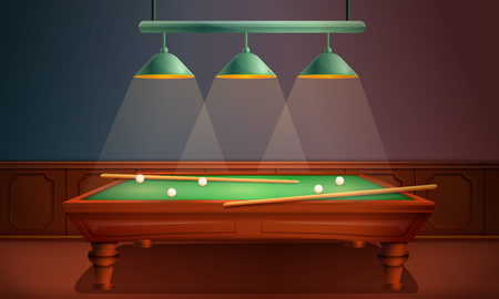 vector hall with pool table, vector illustration Illustration