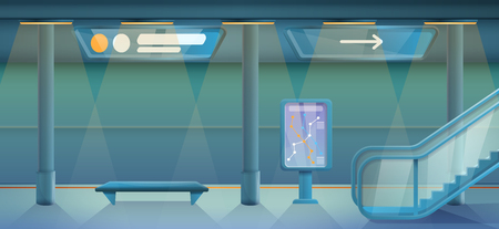 cartoon empty subway station, vector illustration Illustration