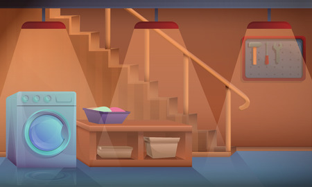 cartoon basement home with washing machine, vector illustration