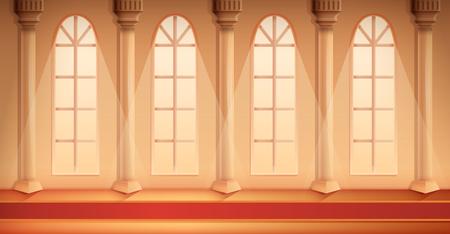 mooie tekenfilmzaal van een kasteel met een tapijt, vectorillustratie