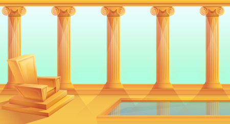 cartoon throne in greek style, vector illustration