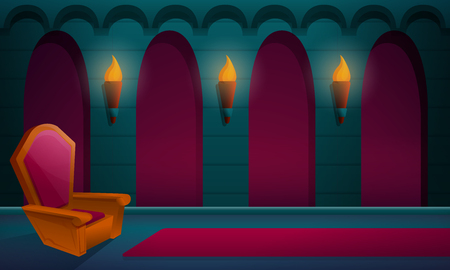 royal hall in the castle with the throne, vector illustration  イラスト・ベクター素材