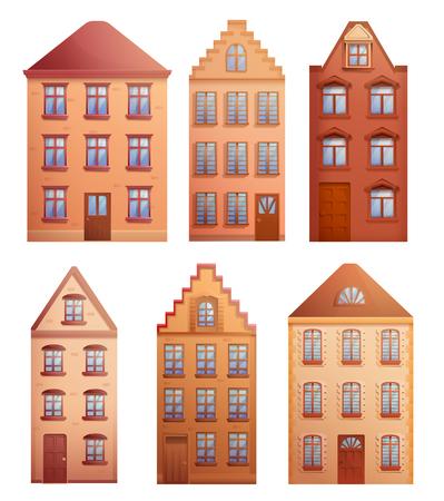 set of old houses, illustration vector Stock Illustratie