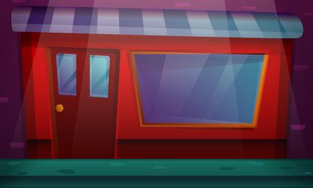 cartoon building with a shop window, vector illustration