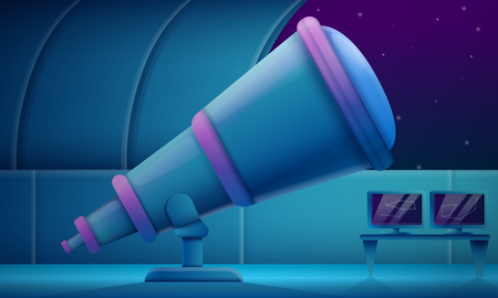 cartoon observatory with a telescope at night, vector illustration Ilustrace