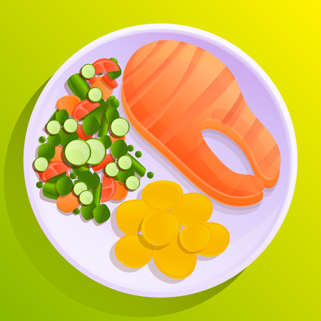 plate of fish with potatoes and vegetable salad, vector illustration