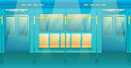 cartoon interior of metro train, vector illustration Ilustrace