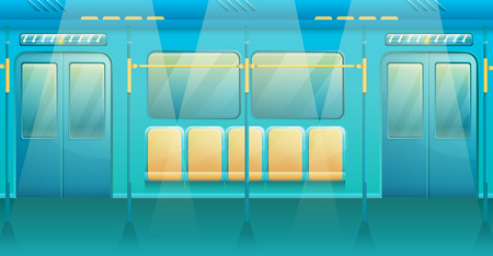 cartoon interior of metro train, vector illustration Illustration