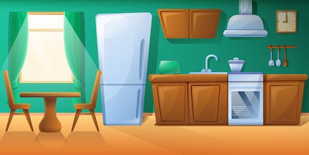 cozy cartoon kitchen with kitchen furniture, vector illustration