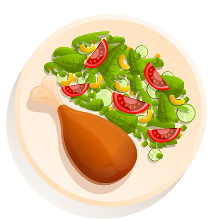 Cartoon plate with chicken leg and salad, vector illustration Ilustrace