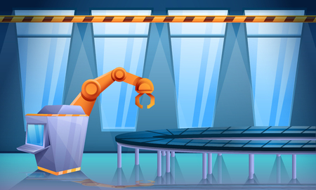 factory workshop with conveyor and robo hand, vector illustration
