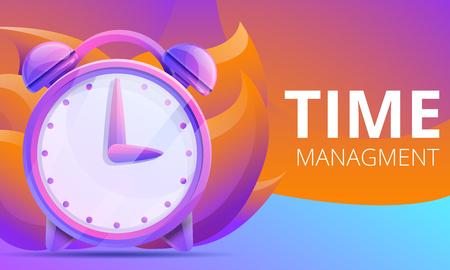 cartoon time concept design with clock, vector illustration