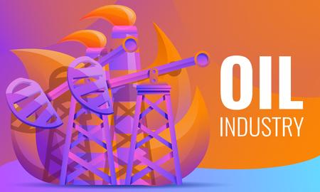 design concept of oil rigs pumping oil, vector illustration Çizim