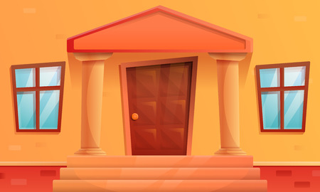 cartoon porch of the house with a door, vector illustration