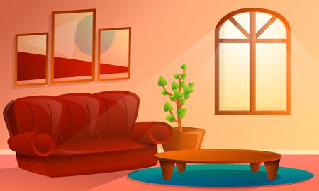 cartoon interior of living room, vector illustration Ilustrace