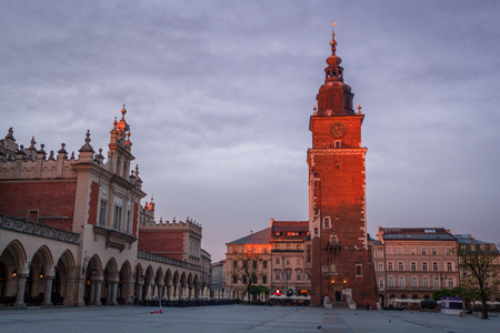 view of the main square of krakow and mariac church