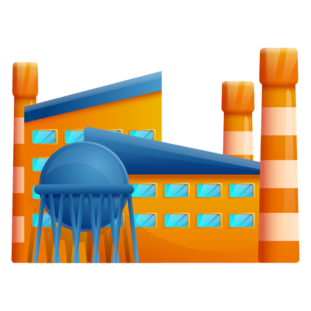 cartoon factory with pipes, vector illustration
