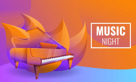musical nights concept design with piano, vector illustration Ilustrace