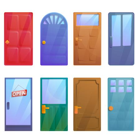 cartoon door set, vector illustration
