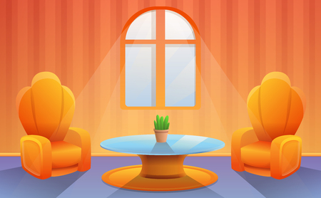 cartoon interior of living room with two chairs, vector illustration